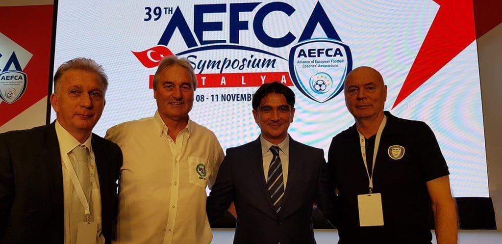 Dr. Fredi Fiorentini (Kroatien), Peter Schreiner, Zlatko Dalic – Head Coach Kroatien, Dr. Yuri Nikolov (Bulgarien)