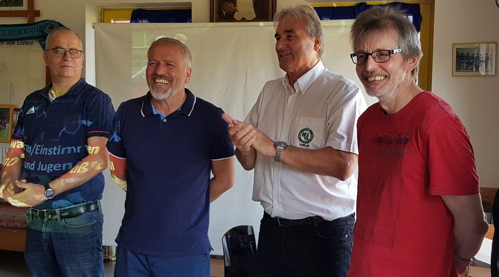 Christoph Riesselmann, Ali Boydak, Peter Schreiner, Dirk Feldkötter bei der Eröffnung des Seminars und Begrüßung der Trainer (es fehlt Norbert Vornhagen)