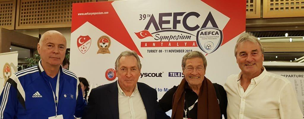 AEFCA Symposium in Belek 2018: Dr. Yuri Nikolov, Gerard Houllier, Walter Gagg und Peter Schreiner
